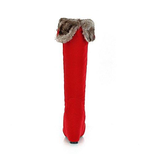 AllhqFashion Mujer Puntera Redonda Tacón Alto Sólido Gamuza(Imitado) Botas Rojo-Cuña