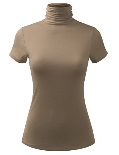 Scrunch Neck Sweater - ALL FOR YOU Women Short Sleeve Lightweight Jersey Turtleneck Top Light Mocha X-Large