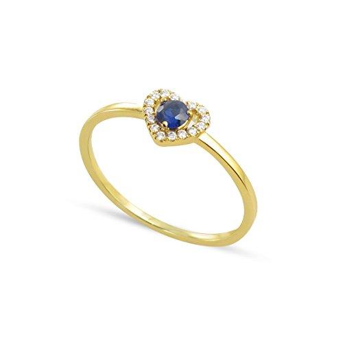 Tousmesbijoux Bague coeur en Or jaune 375/00 diamants et saphir