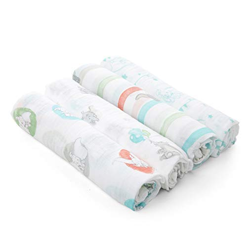 aden by aden + Anais Disney Swaddle Baby Blanket, 100% Cotton Muslin, 4 Pack, 44 X 44 inch, Flying Dumbo