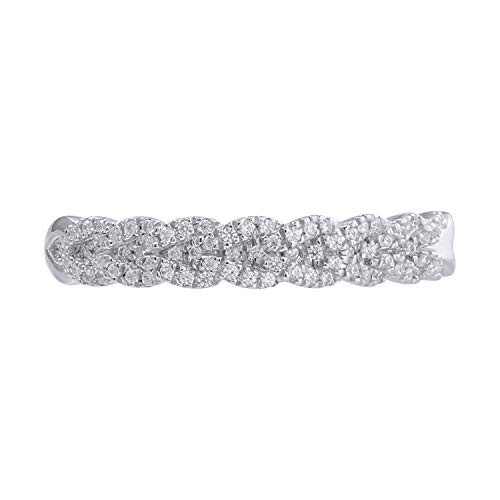 - 10k White Gold Diamond Braided Band Ring (1/5 cttw, H-I Color, I2-I3 Clarity), Size 7