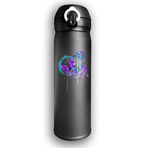 Qiop Nee Insulated Vacuum 17oz Stainless Steel Water Bottle Bubble Butterflies for Travel