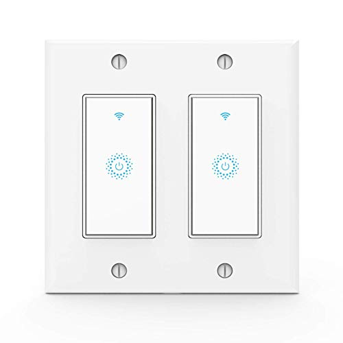 - Wifi Smart Light Switch,Work with Alexa,Google Home, Wireless control,Need White Neutral Wire No hub,2 Gang