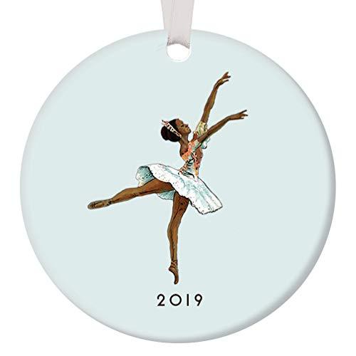 Dark Skin Ballerina Ornament 2019 Black Nutcracker Ballet Sugarplum Fairy Porcelain, African American Ballerina 3