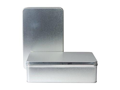 Viva-Haushaltswaren - 2 rechteckige Vorratsdosen / Gebäckdosen / Keksdosen 19,7 cm x 12,8 cm x 6,0 cm