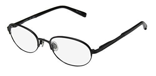 Trussardi 12730 Mens/Womens Oval Full-Rim Shape Flexible Hinges Faux Leather Inserts Classy Eyeglasses/Eyeglass Frame (52-19-140, Black) (Faux-brille)