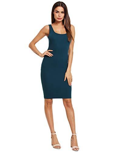 MakeMeChic Women's Basic Scoop Neck Bodycon Sleeveless Mini Tank Dress Teal XS