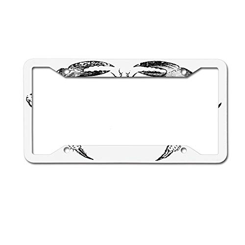 (Dinzisalugg Custom Aluminum Metal License Plate Frame Tag Holder Cute,Seafood Themed Design Vintage Engraved an Edible Crab Print License Plate Frame 4 Holes and Screws)