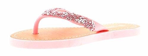Novas Meninas / Crianças Pink Glitter Dedos Sandálias Trenner Toe Web - Rosa Uk Tamanhos 1-13