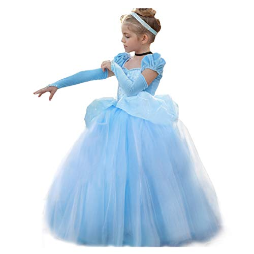 Cinderella Dress Princess Costume Halloween Party Dress up Blue]()