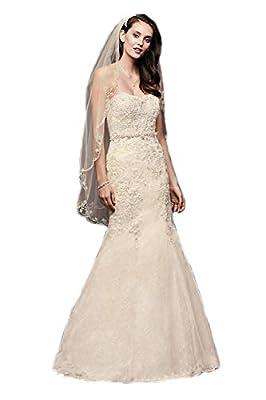 Passat Scrolled Scallop-Edge Crystal Beaded Wedding Bridal Veil DB38