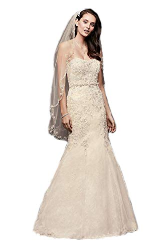 (Passat Ivory 1T Elbow/WaistScrolled Scallop-Edge Crystal Beaded Wedding Bridal Veil DB38)