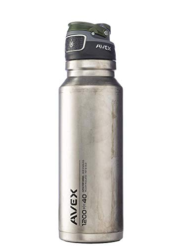 AVEX FreeFlow Stainless Steel Water Bottle - 40oz, Double Wall Insulated, Unfinished Design with Autoseal Button - Ideal for an Outdoor Lifestyle, Keeps Drinks Hot or Cold