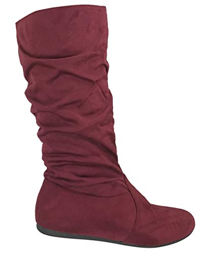 Wells Collection Womens Boots Soft Slouchy Flat to Low Heel Under Knee High, Burgundy, 7