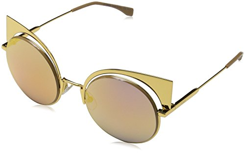 Fendi 0177/S 001OJ Gold 0177/S Round Sunglasses Lens Category 2 Lens Mirrored - Fendi Mens Sunglasses