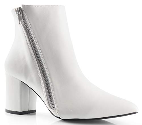 LUSTHAVE Womens Cinco Zipper Pointy Toe Chunky Heel Ankle Bootie Boots, White Size 9