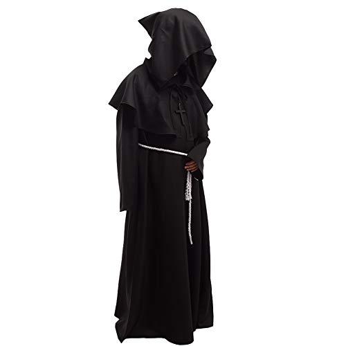BLESSUME Friar Medieval Hooded Robe Monk Renaissance Priest Robe Halloween Cosplay -