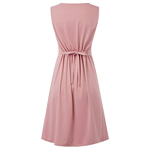 Women Vintage Sleeveless Formal Cocktail Swing Dress Plus Size Pink XXL 2