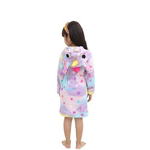Lantop Kids Soft Bathrobe Comfy Unicorn Flannel Robe