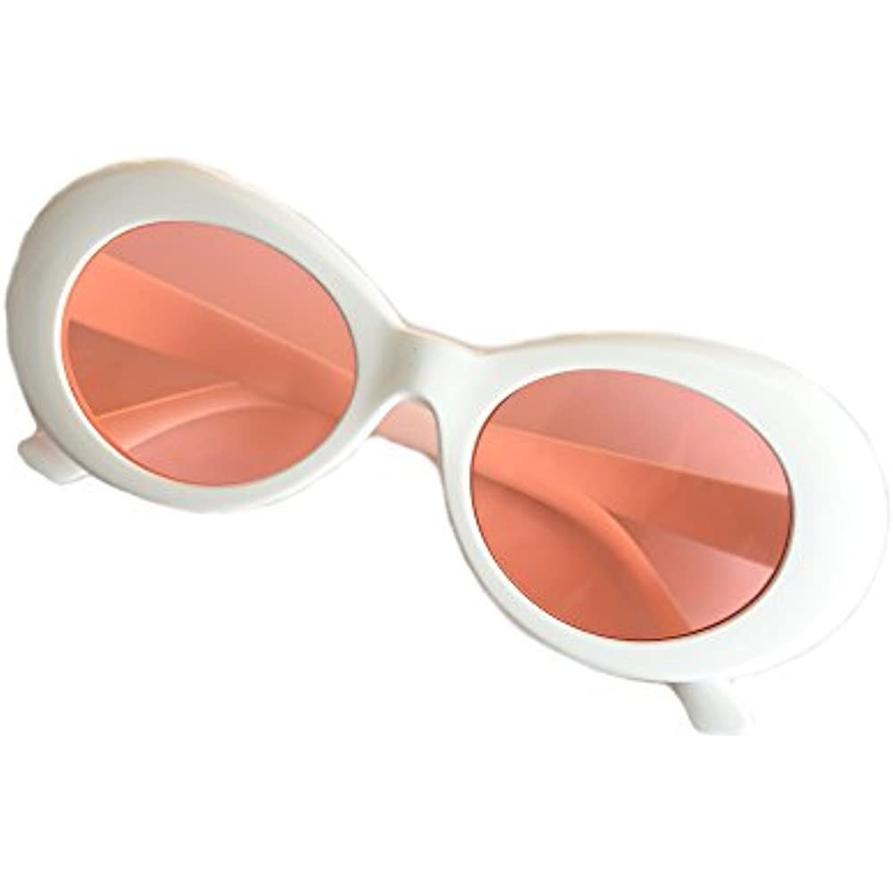 a1f8898714 Details about Bold Sunglasses Retro Oval Mod Thick Frame Round Lens Clout  Goggles (White pink)