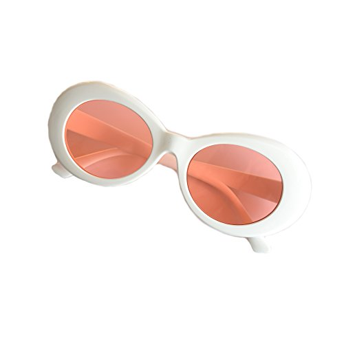 JUSLINK Bold Retro Oval Mod Thick Frame Sunglasses Round Lens Clout Goggles - Checkered Glasses
