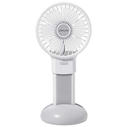 Price comparison product image COMLIFE Portable Handheld Fan Detachable Power Bank - Personal Mini Desktop Fan, 5000mAh Power Bank, 5.5-20 Hours Working Time, 4 Speeds Strong Wind Home Travel Office, White