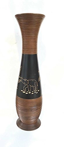Baan Tawai, Chiang Mai, Mango Wood Vase Hand-Crafted, Floor Vase 30 inches (No.001) by WADSUWAN SHOP