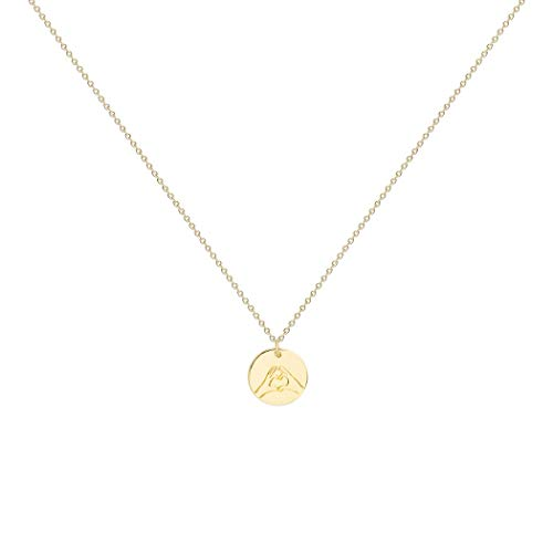 - LOYATA Hand Heart Hand Gestures Pendant Necklace, 14K Gold Plated Simple Funny Personalized Cute Engraved Coin Pendant Necklace for Women