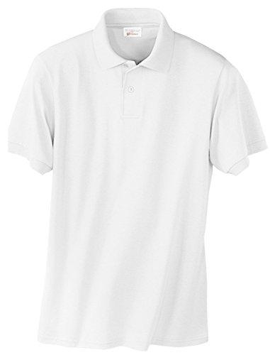 Hanes Adult ComfortBlend EcoSmart Polo Jersey Shirt, White, X-Large