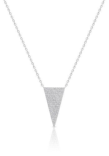 - Art and Molly Sterling Silver Triangle Pendant Necklace with Cubic Zirconia