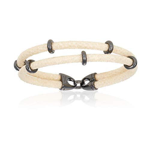 Double Bone Double Stingray Bracelet. Genuine Leather Bracelet with Black PVD Beads for Men and Women (White, 19)