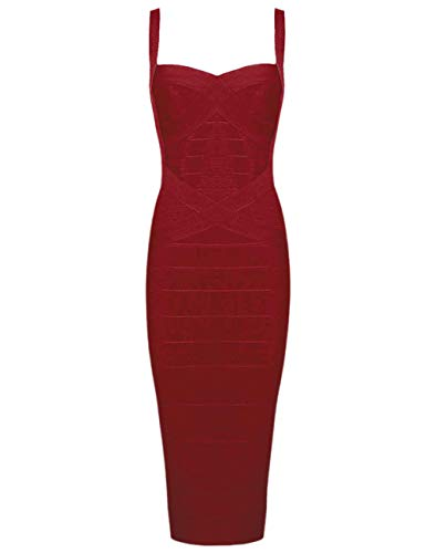 Whoinshop Women's Rayon Strap Celebrity Midi Evening Party Bandage Dress Wine M