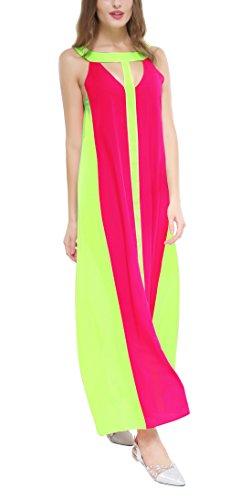 Estate Vestito Donna Sciolto Maxi Abito da Spiaggia Vacanza Rotondo Collo Cavo Senza Maniche Larga Vestiti Moda Colorato Cucitura Chiffon Abiti da Partito Rose Red