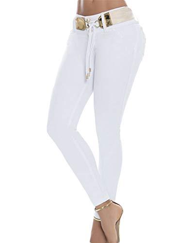 Yonglan Vaqueros Alta Slim Sólido Mujer Blanco Fit Lápiz Pantalones Jeans Color Elasticidad Skinny Mezclilla qw4RqCr