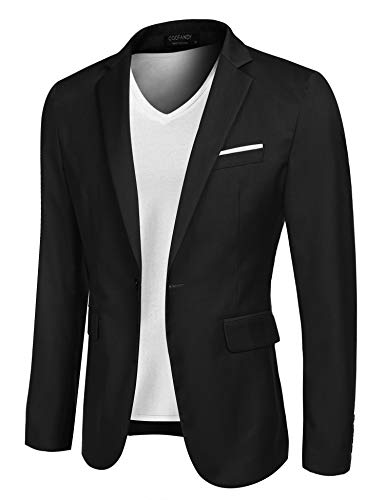 COOFANDY Men's Casual Suit Blazer Jackets Lightweight Sports Coats One Button (L, 2-Black) ()