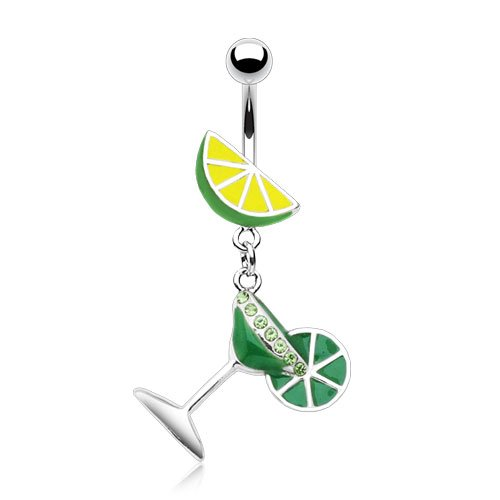 - Enamel Martini Glass with Lime 14g Navel Dangle Belly Ring (Green)