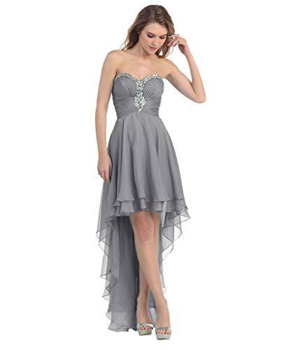 Ballkleider Abendkleider Hinten Partykleider Lang LuckyShe Elegant Vorne Grau Seidenchiffon Kurz RUWwnWtqSf