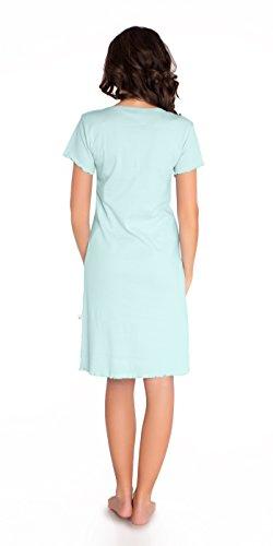 blu camicia da colore cotone cielo 100 per Mint grigio laterale colore allattamento Light notte per Camicia maternità e SqACCW