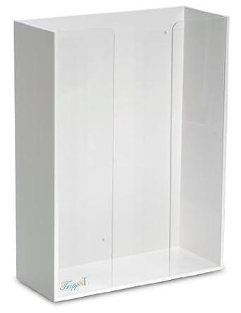 "TrippNT 50023 White PVC and Acrylic Triple Top Loading Glove Box Holder, 11.5"" W x 15.25"" H x 4.75"" D"