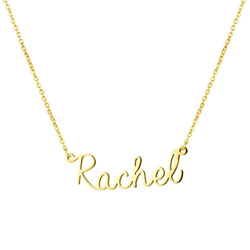Awegift Personalized Name Necklace 18K Gold Plated New Mom Bridesmaid Gift Jewelry for Rachel