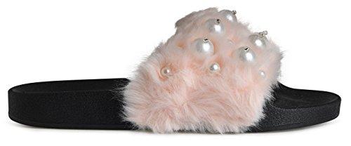 Lusthave Open Toe Slide On Slip On Fur Street Sandalias De Moda Chancletas Pink Con Perlas