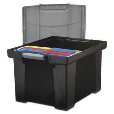 Marvelous Portable File Tote W/Locking Handle Storage Box, Letter/Legal, Black/