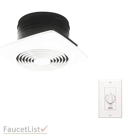 Broan 505 Powerful 180 CFM White 8u0026quot; Square Vertical Discharge Ceiling  Mount Bathroom Ventilation Exhaust