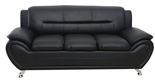 Container Furniture Direct S5395-S+C Michael Sofa and Chair Set, Black