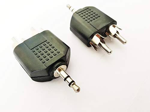2 RCA Male to 3.5 mm Aux Stereo Male Jack Connector AV Audio Video Y Splitter Adapter  Pack of 2 .