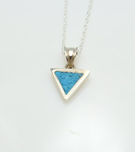 Necklace Pendant Mosaic - Triangle Turquoise Gemstone Mosaic Sterling Silver Necklace 16.1'' to 17.7 inches, Adjustable Chain, Semi Precious Stone
