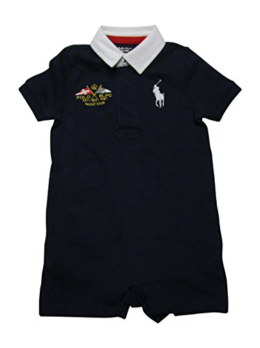 RALPH LAUREN Baby Boys Cotton Jersey Rugby Shortall (Hunter Navy, 24 Months) (Lauren Ribbed Ralph Jersey)