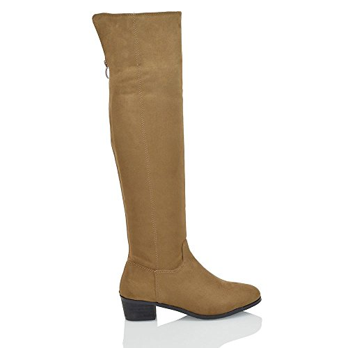 Suede Low Womens GLAM Boots ESSEX Back Heel Faux Mocca Suede Riding Size Faux Zip Biker Knee HIGH Block wXTfw5qp