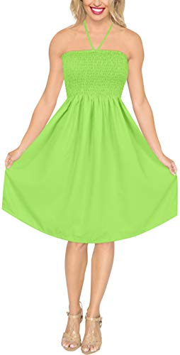 (LA LEELA Rayon Solid Cruise Tube Tube Dress Strapless Parrot Green 2031 One Size)