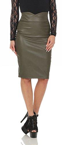 11103 Fashion4Young Damen Rock Minirock Knielanger Rock Lederimitat Skirt Slimline Bodycon Oliv